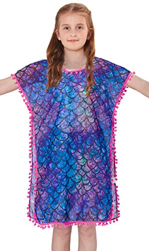 Galaxy Suit - BFUSTYLE Summer V Neck Swim Cover Up for Child Girls Galaxy Gradient Mermaid Scale Daily Wear Flwey Sleeveless Tassel Loose Pool Bathing Suit Cartoon Style Common Poncho Clothes,Size 12