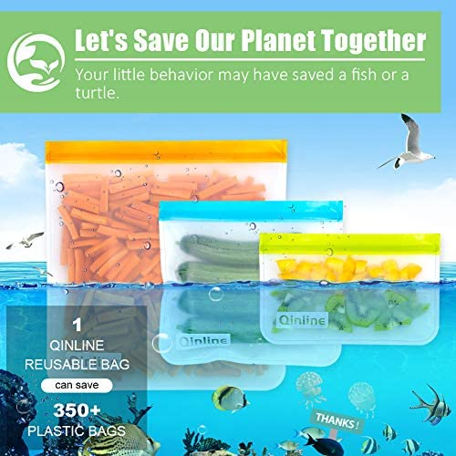 Reusable Storage Bags - 10 Pack BPA FREE Freezer Bags( 2 Reusable Gallon Bags + 4 Leakproof Reusable Sandwich Bags + 4 THICK Reusable Snack Bags) Lunch Bags for Food Marinate Meat Fruit Cereal