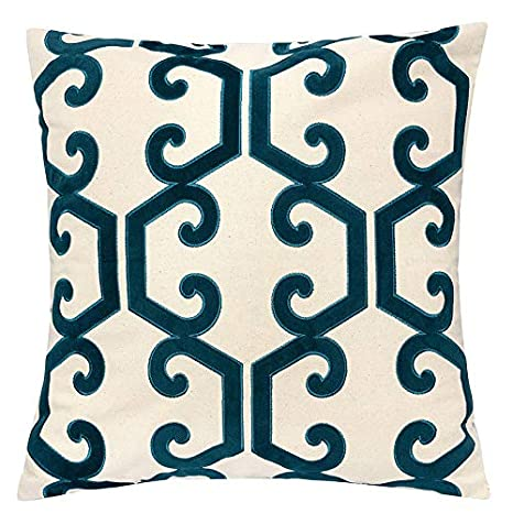 Excellent Homey Cozy Cerulean Throw Pillow Cover Large Premium Applique Geometric Vine Cotton Burlap Sofa Couch Pillowcase Rustic Home Decor 20X20 Cover Only Andrewgaddart Wooden Chair Designs For Living Room Andrewgaddartcom