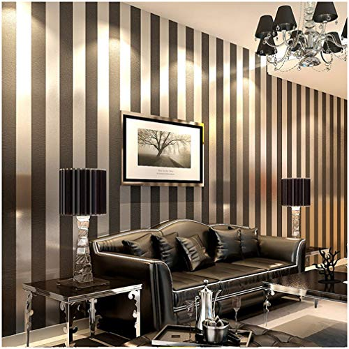 (QIHANG Modern Minimalist Non-woven Vertical Stripes Wallpaper Roll Black Gray)