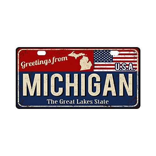 InterestPrint Greetings from Michigan Rusty Metal Sign with American Flag Metal License Plate for Car, Car Tags Cover for Woman Man - 11.8