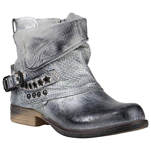 Stiefelparadies Gefütterte Damen Biker Boots Stiefeletten Winterschuhe Metallic Prints Nieten Schnallen Übergößen Schuhe Flandell Silber Nieten