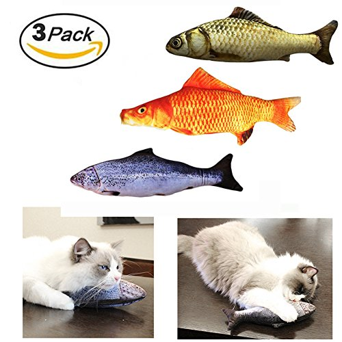 Bao dan 3 Pack Cat Toy with Catnip for Cats Kitten Plush Chew Toys Pets Pillow Simulation Interactive Fish Shape Toy Play