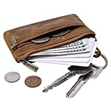 QEES Classic Men Genuine Leather Coin Pouch Zippered Coin Purse Mini Change Key Holder for Travel Carry Perfect Gift for Father Husband GJB31-2