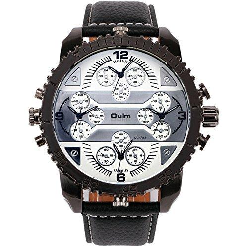 OULM 2015 Men's New Military Quartz Wrist Watch Leather Strap Japan 4 Multi Time Zone Oversize Gear-shaped Bezel + Gift Box