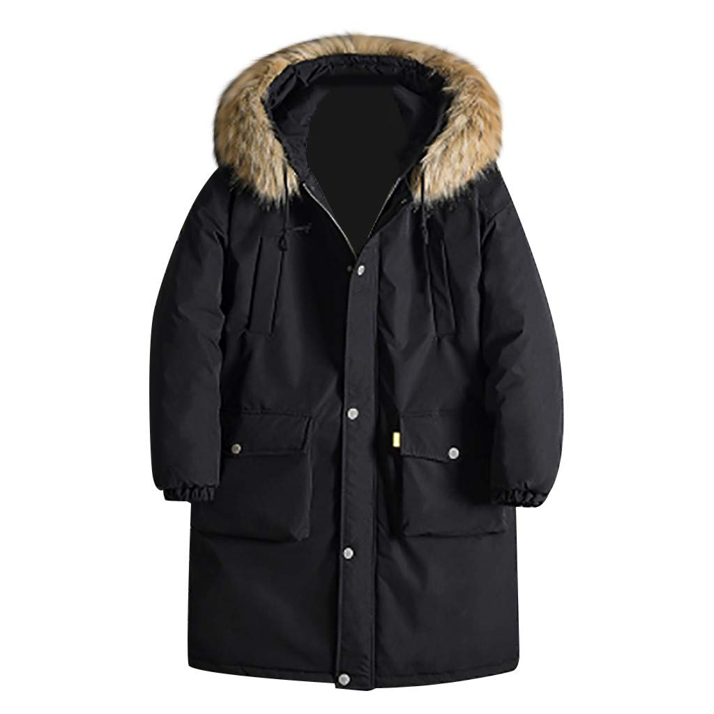 Dowager Winter Outwear for Men, Men's Warm Padded Coat, Long Sleeves Loose Fashion Stand Collar Full Zip Overcoats Jacket for Home Indoor Outdoor Cold Snow Weather by Dowager