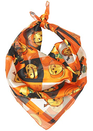 Womens Hollween Pumpkin Print Satin Scarf
