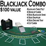 Professional Casino Style Deluxe 6-Deck Blackjack Set - Includes Bonus 100 Poker Chips!