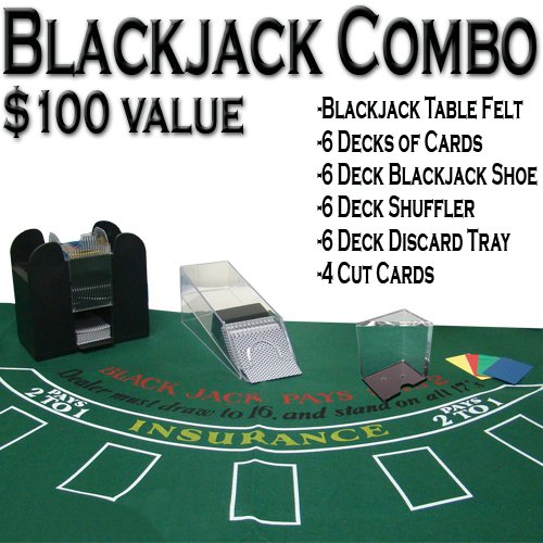TMG Professional Casino Style Deluxe 6-Deck Blackjack Set - Includes Bonus 100 Poker Chips! -