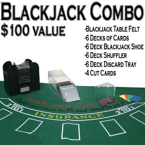 TMG Professional Casino Style Deluxe 6-Deck Blackjack Set - Includes Bonus 100 Poker Chips! ()