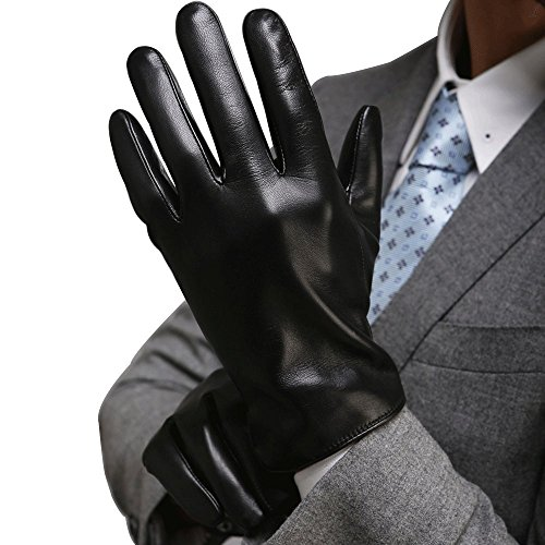 Harrms Best Luxury Touchscreen Italian Nappa Genuine Leather Gloves for men's Texting Driving Cashmere Lining (M-8.5