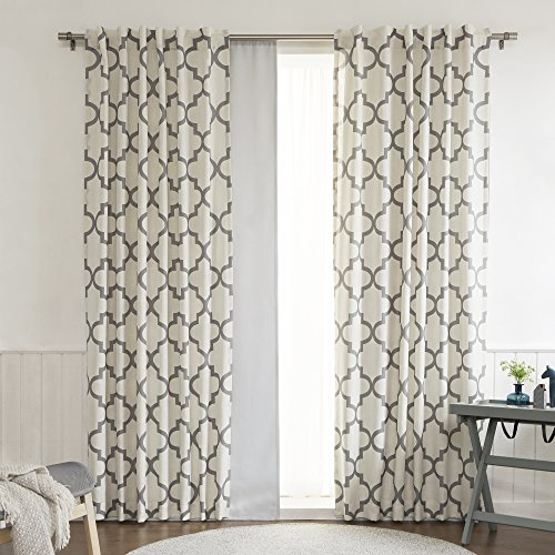blue curtain white moroccan curtains geometric panels navy trellis detail