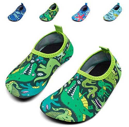 Giotto Kids Swim Water Shoes Quick Dry Non-Slip for Boys & Girls, G015F-Green, 28-29 (29 Green)