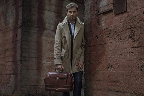 Leder Doktortasche, Leder Arzttasche, Leder Aktentasche, Vintage-Stil Arzt Tasche, Umhängetasche Braun - Time Resistance