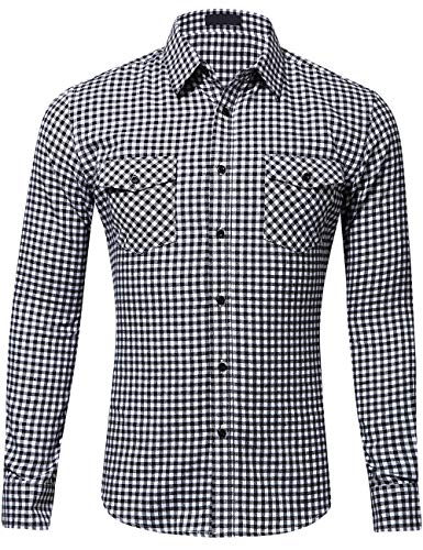 Mens Brushed Check Cotton - DOKKIA Men's Dress Buffalo Plaid Checkered Fitted Long Sleeve Flannel Shirts (White Black Check, Large)