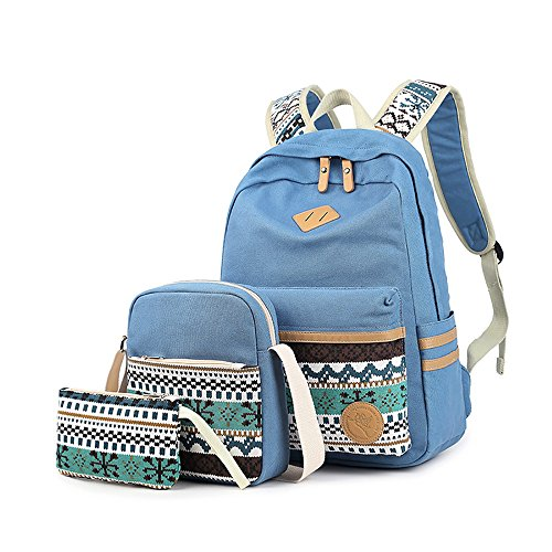 Backpack Set 3 Pieces Patterned Canvas Laptop Casual Travel School Bag for Teens Boys ()