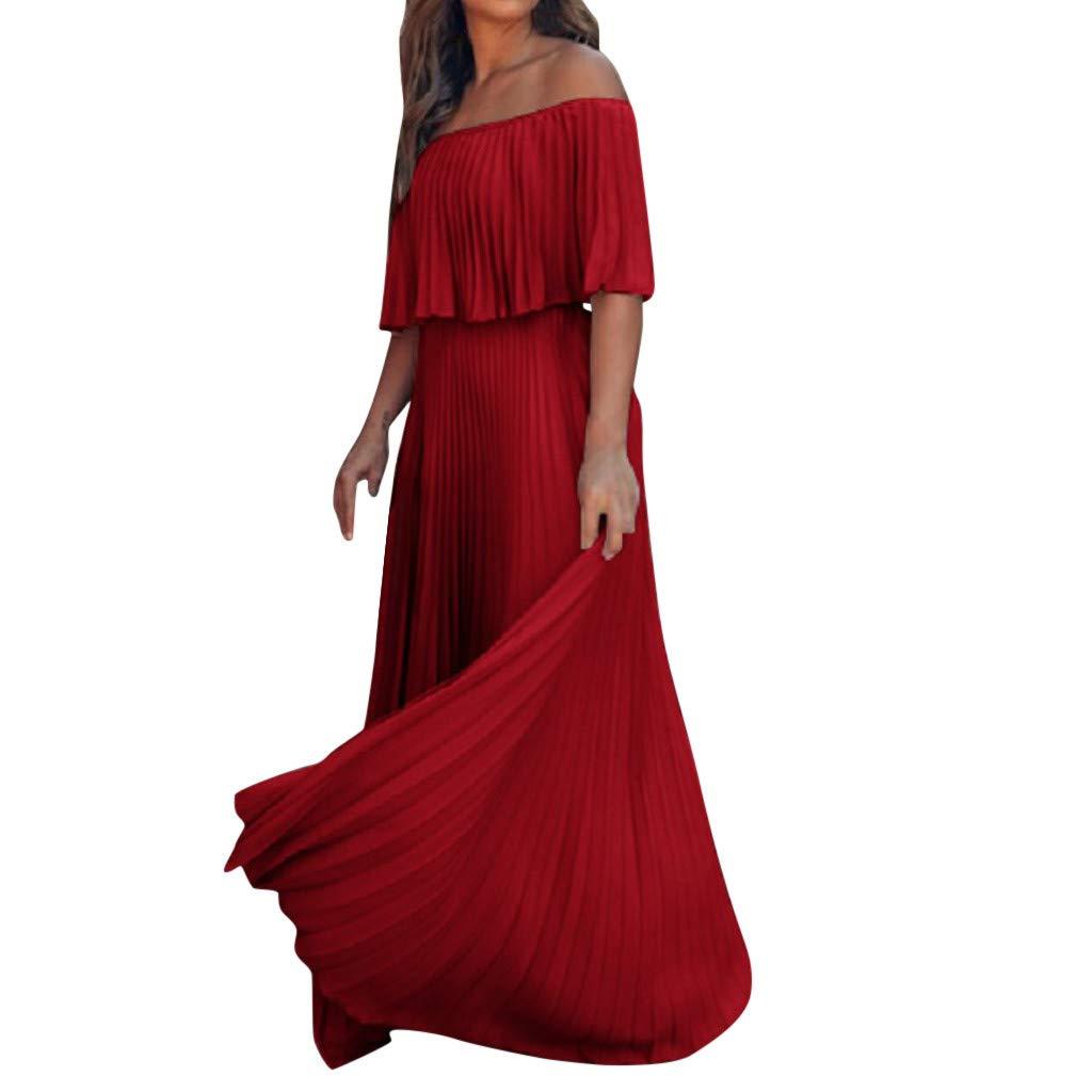 LIM&Shop  Summer Long Dress Cold Shoulder Maxi Dress Elegant Party Wedding Dress Short Sleeves Blouse Ruffled Swing Red