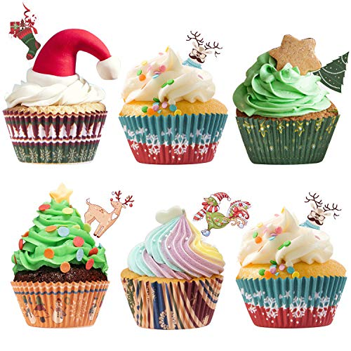 250 Pack Christmas Party Supplies Standard Paper Cupcake Liners Holders Toppers Wrappers Disposable Baking Cups Muffin Liners for Christmas Party Decoration