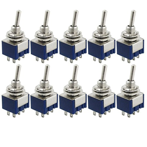 YXQ 10 Pcs AC 125V 6A ON/ON 2 Position DPDT Mini Toggle Switch