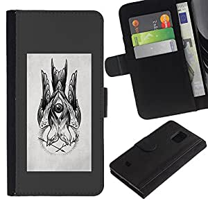 KingStore / Leather Etui en cuir / Samsung Galaxy S5 Mini, SM-G800 / Dessin d'encre crayon noir