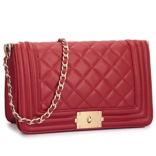 Dasein Women's Designer Quilted PU Leather Twist Lock Crossbody Bag Shoulder Bag Fashion Handbags w/ Chain Strap (Red Quilted Purse)
