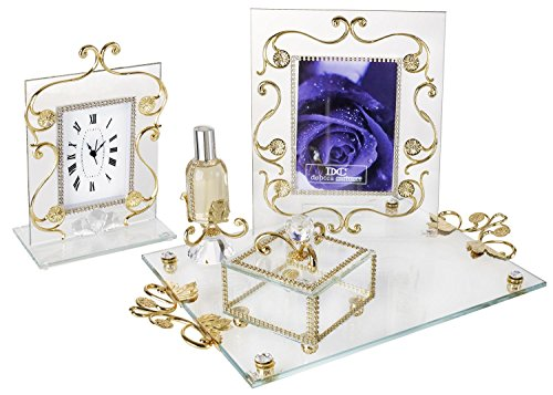 5th Avenue Collection Italian 18kt Gold Plated 4 Piece Vanity Set w/ Tray by 5th Ave Store
