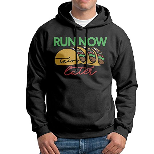 Obachi Run Now Tacos Later Men's Long Sleeve Pullover Hooded Sweatshirt Black Size L