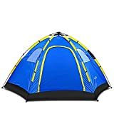 Wnnideo Instant Family Tent - 6 Person Large Automatic Pop Up Waterproof for Outdoor Sports Camping Hiking Travel Beach with Zippered Door and Carrying Bag in Blue