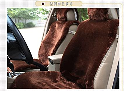Super Oflba Faux Sheepskin Car Seat Cover Front Fur Covers Universal Fit Brown Inzonedesignstudio Interior Chair Design Inzonedesignstudiocom