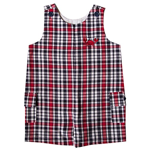 Good Lad Red and Navy Plaid Shortall with Crab Applique - Boy Shortalls Baby