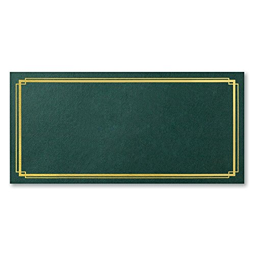 Green Embossed Gold Foil Border Gift Certificate Jackets, 4.5 Inches High x 9.5 Inches Wide, 25 Count -
