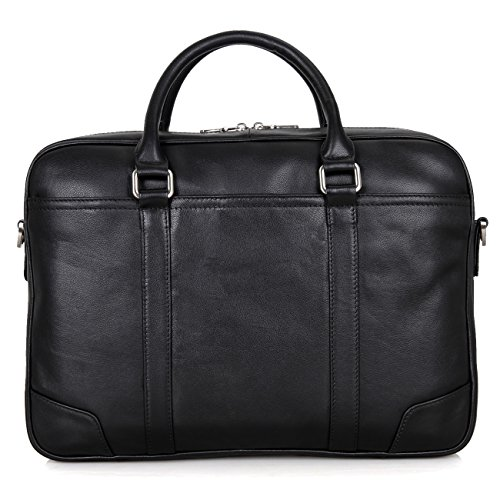 Texbo Genuine Top Cow Leather Business Briefcase Fit 15.6'' Laptop Bag Tote (Black) by Texbo