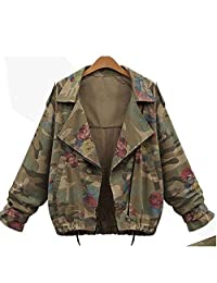 Aksautoparts Vintage Rose print Camouflage Military Jackets Coats Denim Army Green