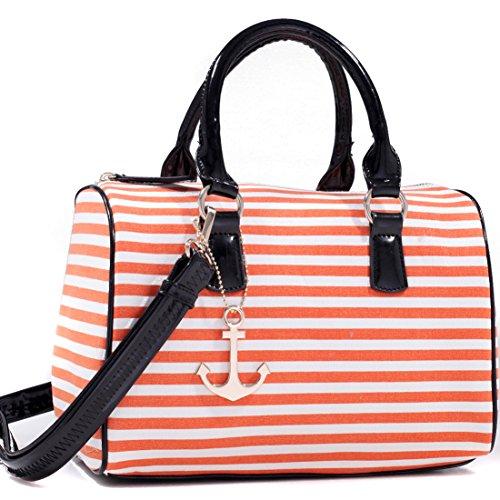 Dasein Anchor Canvas Striped Satchel Bag with Removable Shoulder Strap - Orange Stripe/ Black Trim