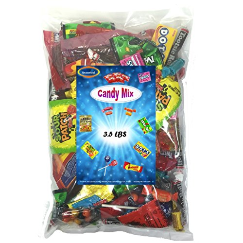 Assorted Wrapped Candy Variety Mix 3.5 Lbs - Huge Party Mix Bulk Bag of: Tootsie Roll Pops, Skittles, Gobstoppers, Starbursts, Tootsie Roll Fruit chews,Twizzlers Licorice and Much (Pirate Theme Snacks)
