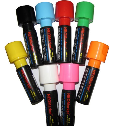 """NEOMarker Extra-Wide 1¼"""" Tip Waterproof Glass Marker - Set of 8 by NEOPlex (Image #3)"""