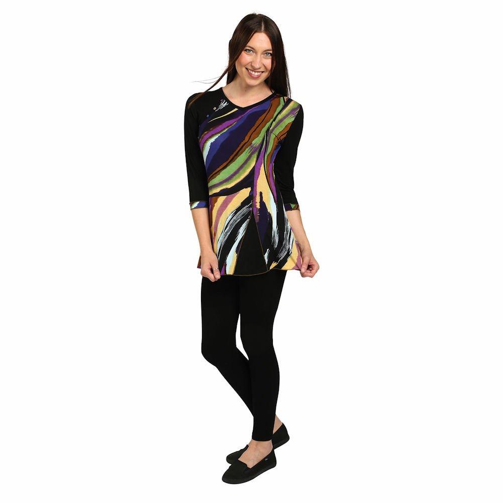 CATALOG CLASSICS Women's Tunic Top - Sierra Sunset Design on Black Shirt - Small
