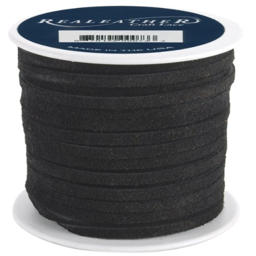 Lacing Craft - Realeather Crafts Suede Lace, 0.125-Inch Wide and 25-Yard Spool, Black