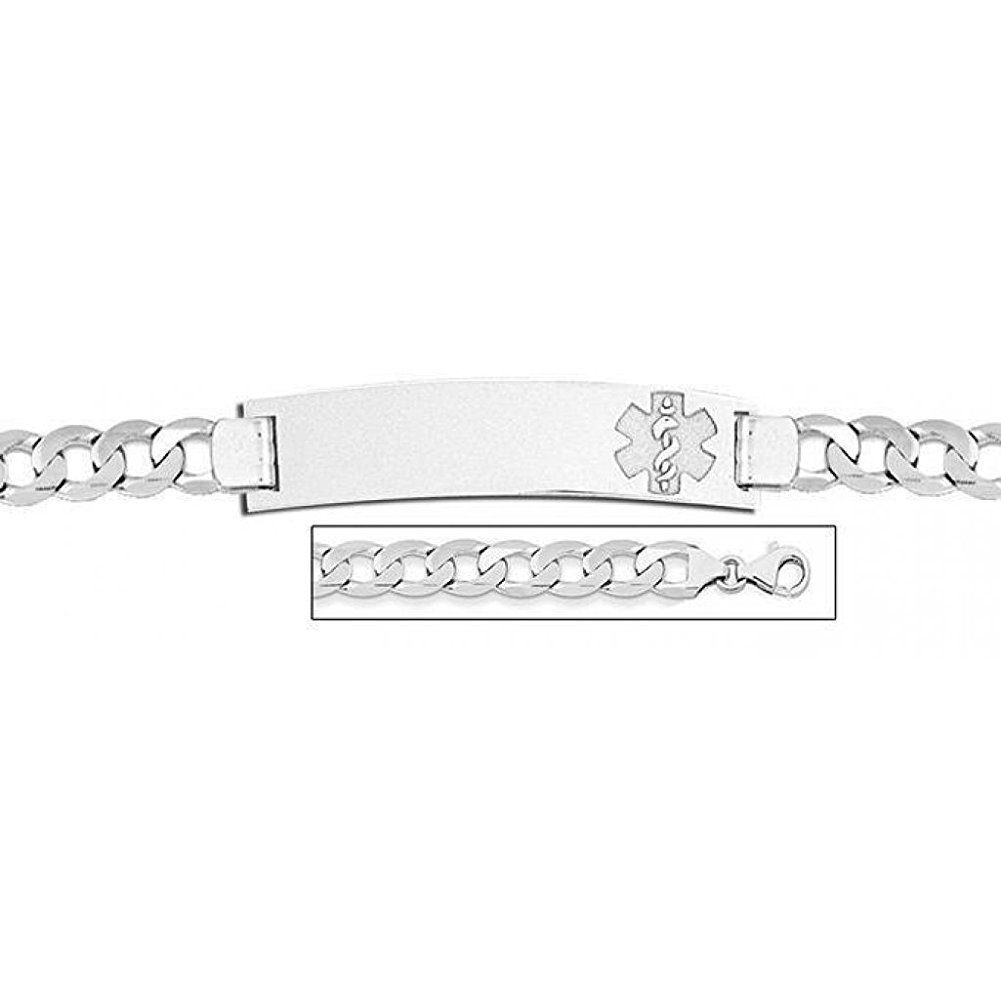 Sterling Silver Medical ID Bracelet W/ Curb Chain - 8-1/2