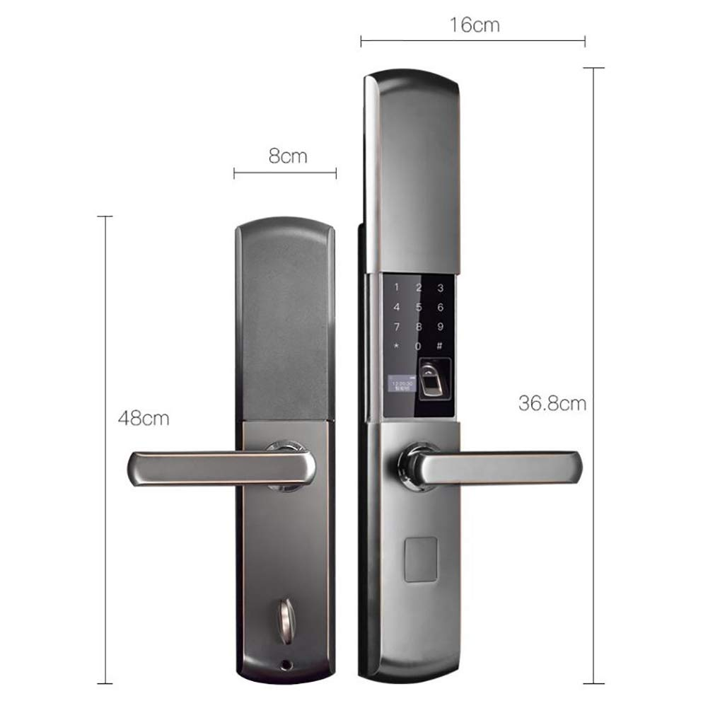 Smart Door Lock 5 in 1 semiautomatic Electronic Biometric Fingerprint Door Lock, Home Entry for Bedroom Apartment Office (Aluminum Alloy) by SFXYJ (Image #2)