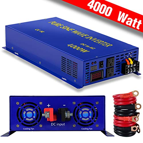 XYZ INVT 4000w Pure Sine Wave Power Inverter 12V DC to 120V AC LED Display Power Converter for Off Grid, Solar System, RV. (4000W12V)