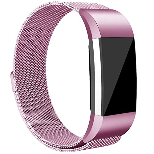 Tobfit Compatible Metal Band Replacement for Fitbit Charge 2 Bands (2 Size), Milanese Loop Mesh Smooth Stainless Steel Strap with Magnetic Closure Compatible for Fitbit Charge 2, Small Large