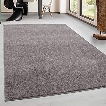 Teppich Kurzflor Modern Wohnzimmer Einfarbig Meliert Uni günstig Versch.  Farben - Beige, 120x120 cm Rund