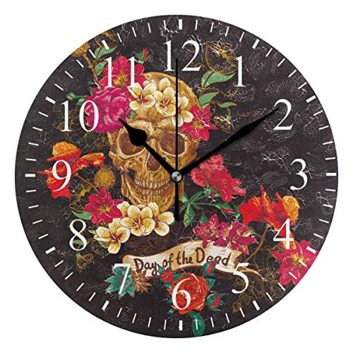 Dozili Day of The Dead Sugar Skull Round Wall Clock Arabic Numerals Design Non Ticking Wall Clock Large for Bedrooms,Living Room,Bathroom (Pbteen Room Design)