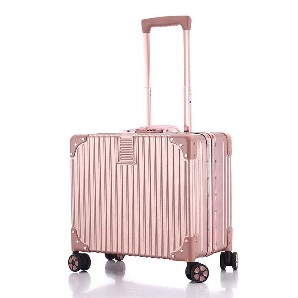荷物、ビジネスコンピュータボックスの税関ロックブラックシルバーに搭乗小さな18インチアルミフレームスピナーホイール (Color : Rose gold, サイズ : 18inch) 18inch Rose gold B07QSQ9J2Z