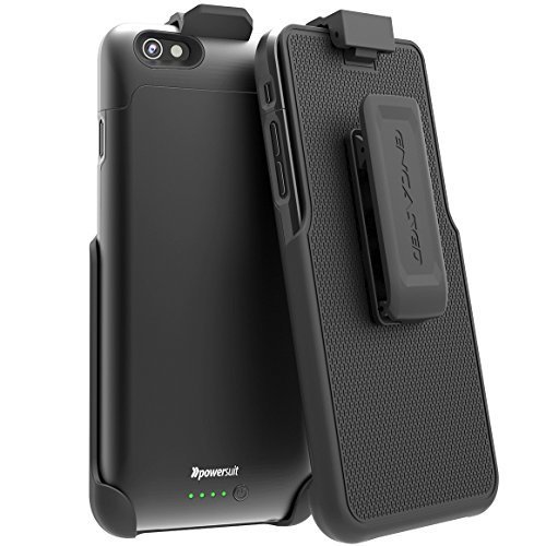 (Apple MFI Certified) iPhone 6 / 6S Battery Charging Case & Clip - Smooth Black (By PowerSuit®)