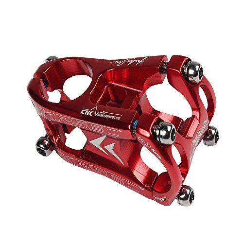 KRSCT 31.8mm Cycling Mountain Bike Stem CNC aluminum Short Handlebar Stem Riser ultra-light MTB BMX DH FR Handlebar Accessories (red)