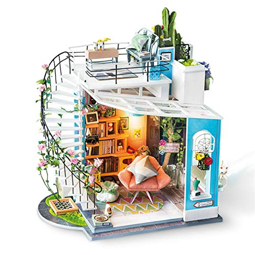 DIY Dora's Loft with Furniture Children Adult Miniature Wooden Doll House Model Building Kits Dollhouse Toy,Colorful -