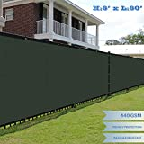 E&K Sunrise Premium fence screen 6' x 60' Fence Privacy Screen Solid Vinyl Fence Screen Fabric 100% Privacy (440GSM) -3 year limited warranty&8-10 Year Expected Life/Solid Green