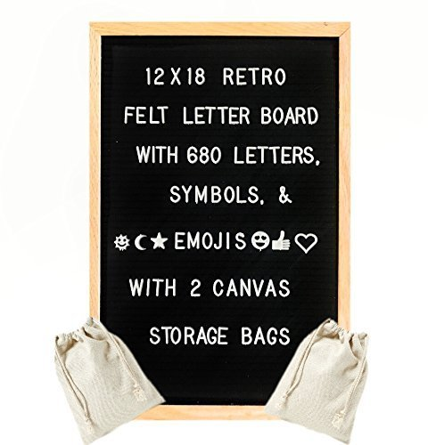 (12x18 Inch Premium Solid Oak Framed Retro Black Felt Changeable Letter Board - Includes Set of 680 Changeable Letters, Numbers, Emojis, and Punctuation. Includes 2 Canvas Storage Bags)